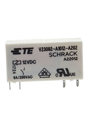 1393236-5, V23092-A1012-A202 реле 1FormA 6A 12VDC 250VAC TE Connectivity